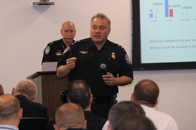 Roland Suliveras, the director of CBP's National Targeting Center's Cargo Division, leads a discussion at CBP's Fentanyl and Opioid Targeting Conference. Photo by Mike Pope