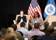 Office of Trade leadership, EAC Brenda Smith and DEAC Cynthia Whittenburg, deliver a presentation on how CBP's use of data to drive trade policy and action during the lunch portion of the 2017 West Coast Trade Symposium in Scottsdale Arizona on May 24. (Photo by Scot Osborne)
