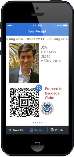 Smartphone displaying Mobile Passport Control App