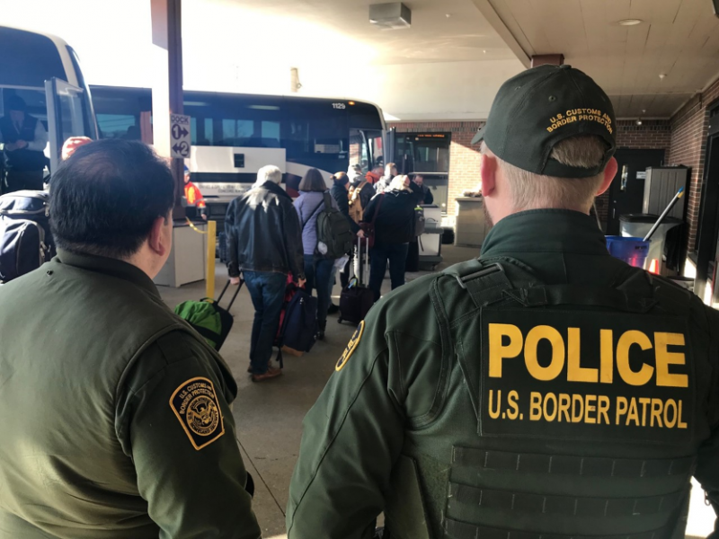 U.S. Border Patrol agents conducting transportation check operations in Portland, Maine January 9, 2020
