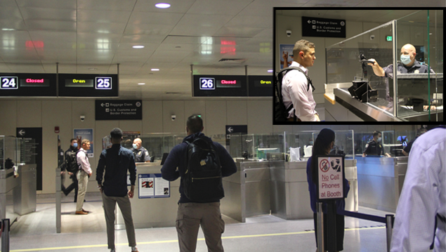 Passengers at Boston Logan Airport use new Simplified Arrival technology.