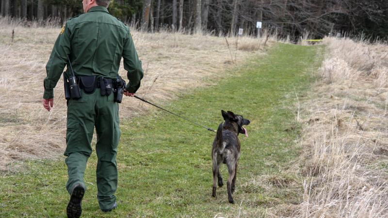 U.S. Border Patrol Canine Team patrols the border between the United States and Canada