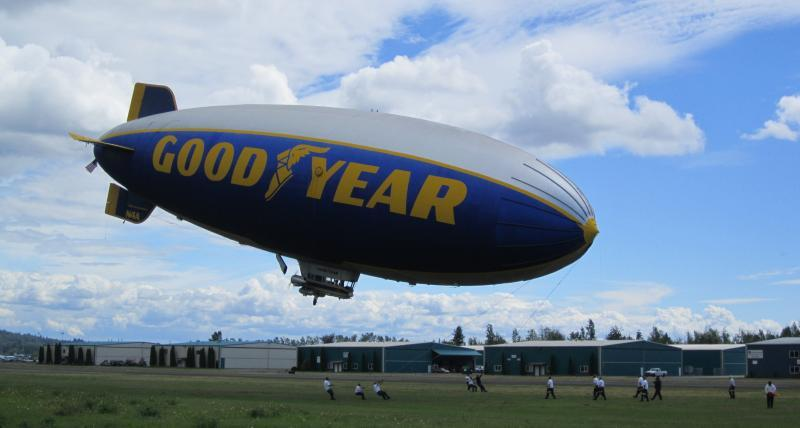 The iconic Goodyear blimp lands at Arlington Municipal Airport in Arlington, Washington.