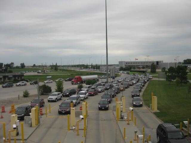 Traffic at the Pembina, North Dakota, port of entry