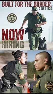 """Now hiring"" banner: montage featuring Border Patrol Agents"