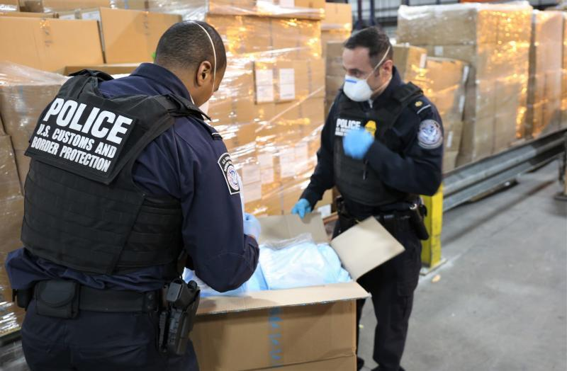 CBP officers inspect shipments