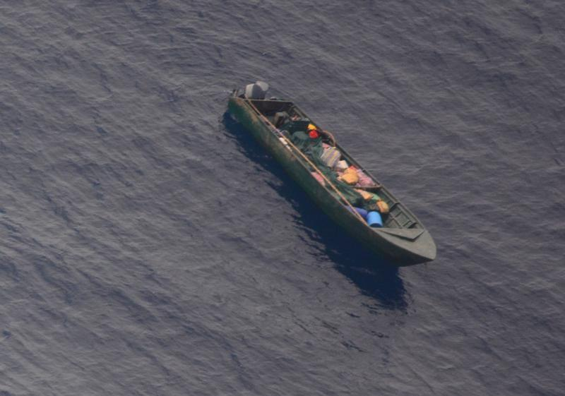 """CBP Air and Marine Operations Agents found this """"panga"""" smuggling vessel off the coast of Central America"""