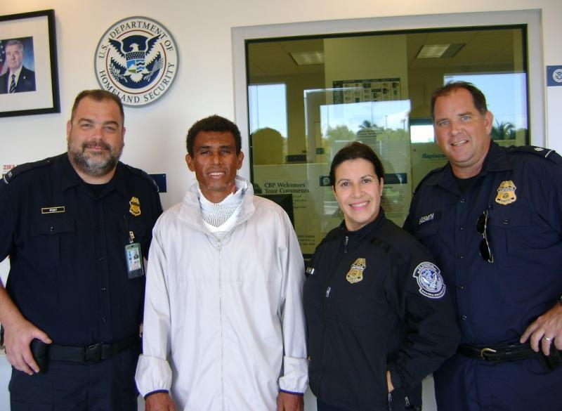 CBP personnel in Key West with rescued Costa Rican man