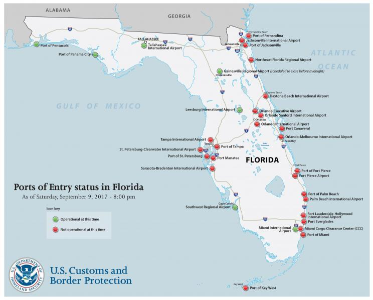 Status of the ports of entry in Florida.