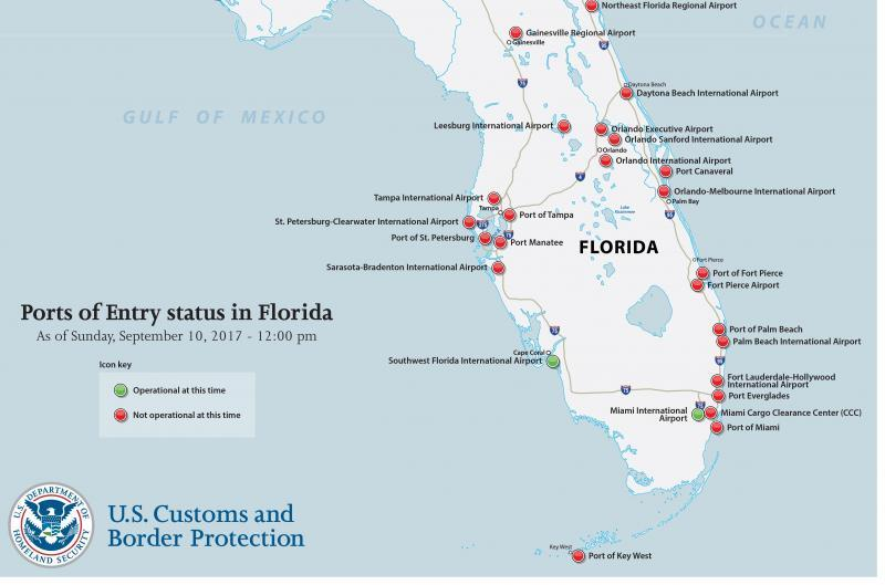 Us Customs Miami Map Offices Status Of The Ports Of Entry In - Miami on us map