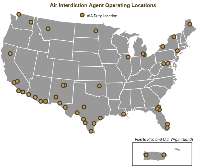 Air Interdiction Agent Duty Locations US Customs And Border - Us customs miami map
