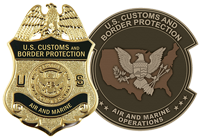 U.S. Customs and Border Protection Badge next to the Air and Marine Operations Logo