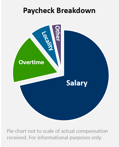 sample pay check break down pie chart 68 salary 25 overtime