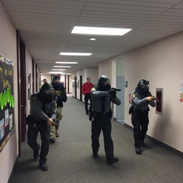 Officers and agents begin school schooter drill