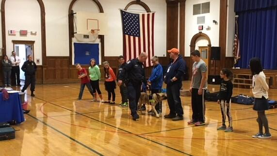 CBP canine team and students from Peru Central School