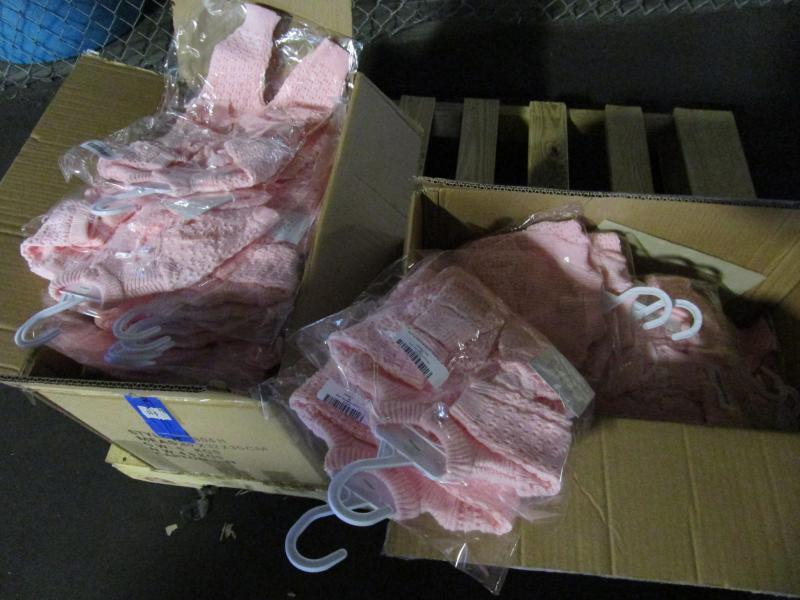 Shipment of baby clothing containing led
