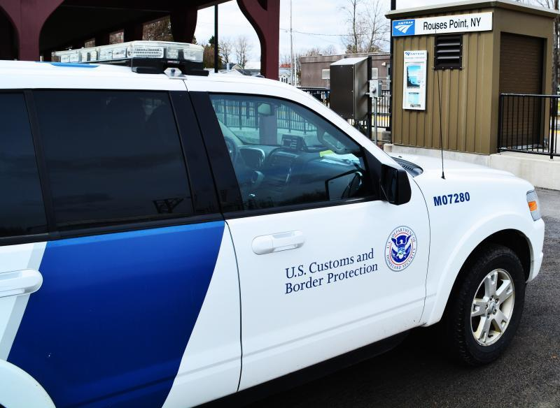 CBP vehicle parked at Rouses Point, N.Y., Amtrak train station