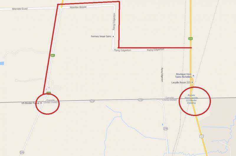 Map of the Rouses Point detour