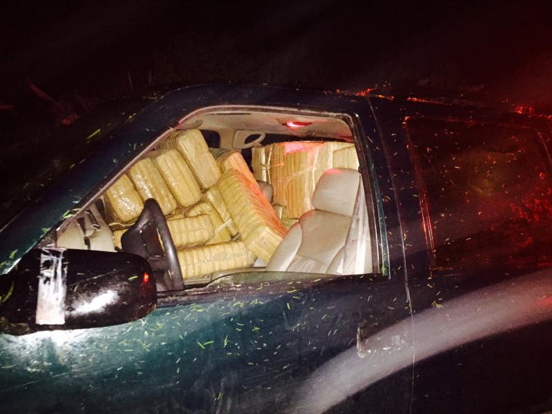 Seized vehicle filled with marijuana bundles