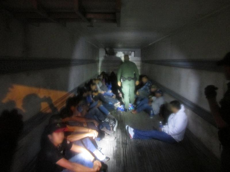 Border Patrol Agents discovered 35 subjects hidden in trailer