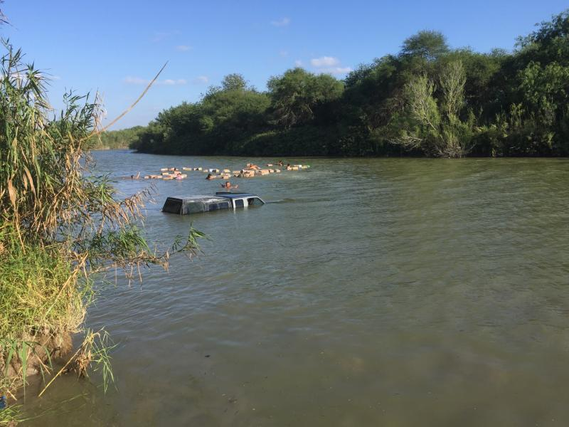 Bundles of marijuana floating in the Rio Grande