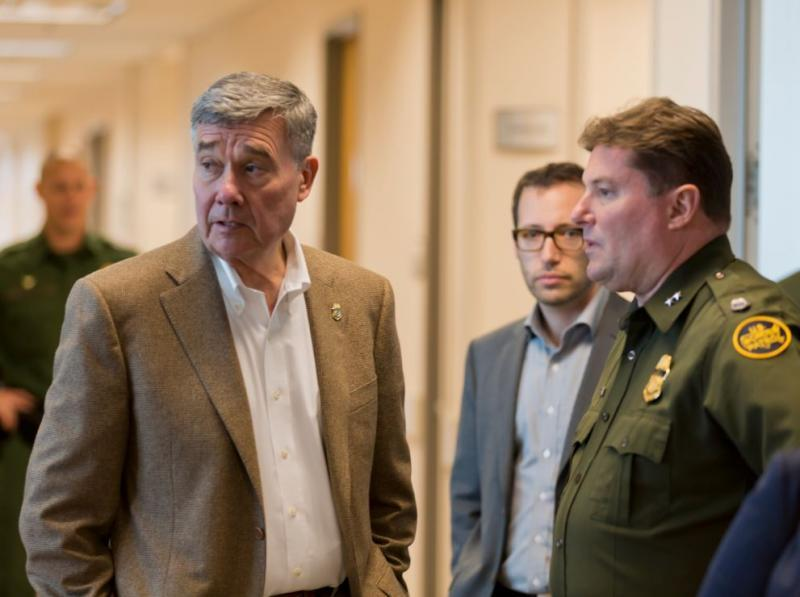 Rio Grande Valley Sector Chief Patrol Agent Kevin W. Oaks talks with CBP Commissioner R. Gil Kerlikowske.