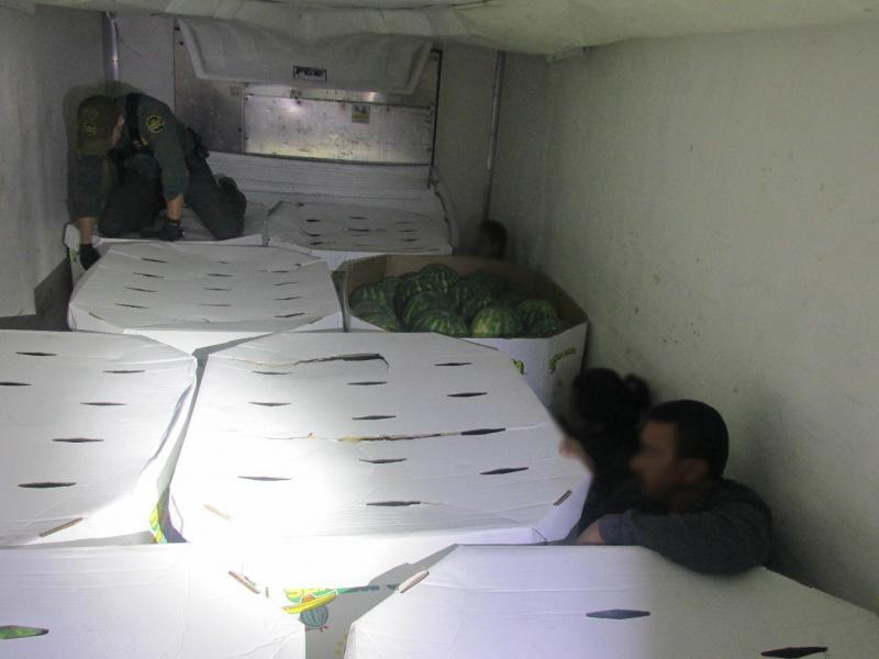 Immigrants hidden among watermelons in refrigerated trailer