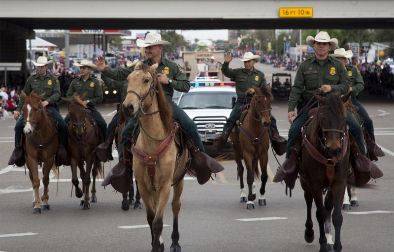 Rio Grande Valley Horse Patrol Unit in a parade near McAllen, Texas