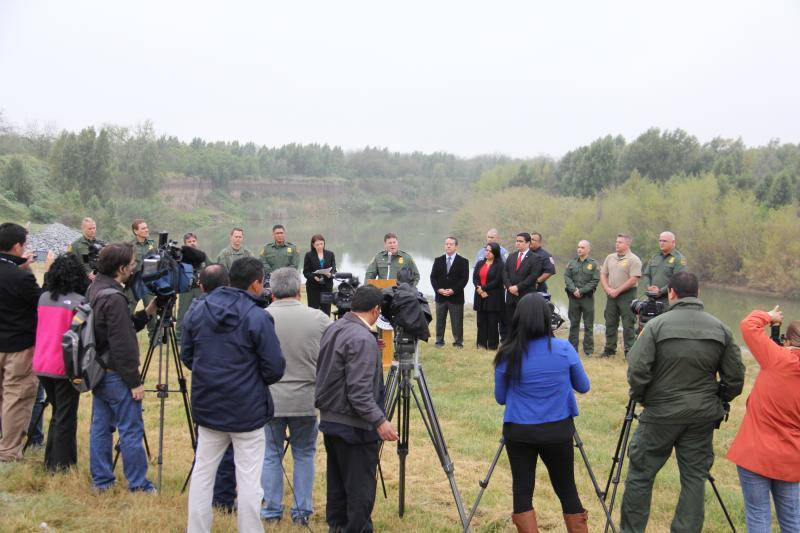 Dangers of water press event held by the Rio Grande