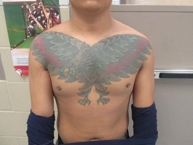 Chest of an 18th street gang member