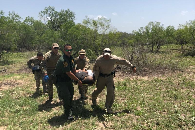 Air Marine and Border Patrol agents rescue a man in distress