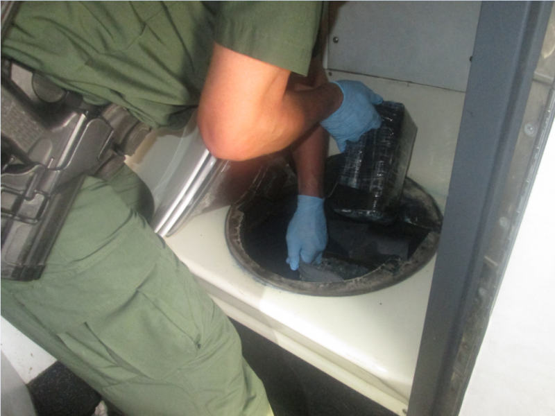 Cocaine concealed in toilet on commercial bus