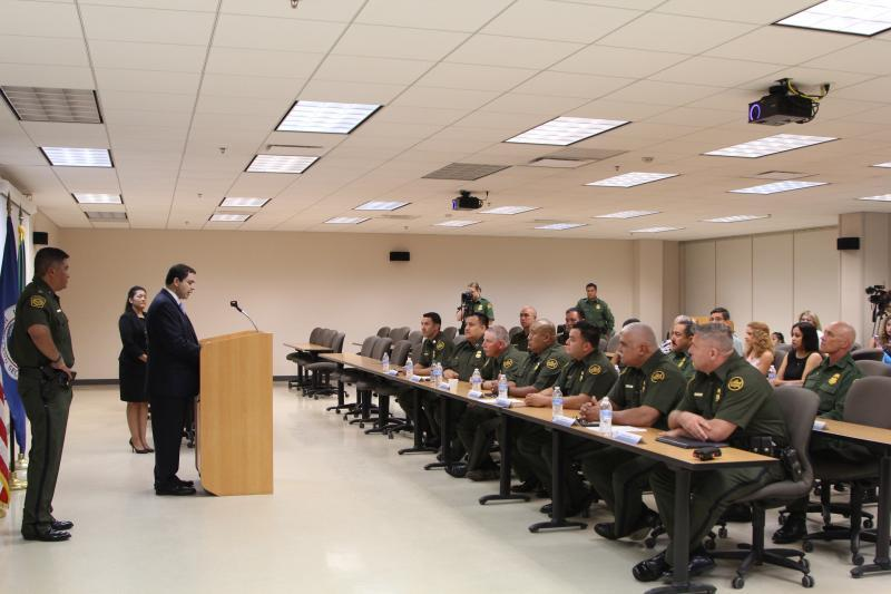 Congressman Henry Cuellar addresses RGV Agents and families