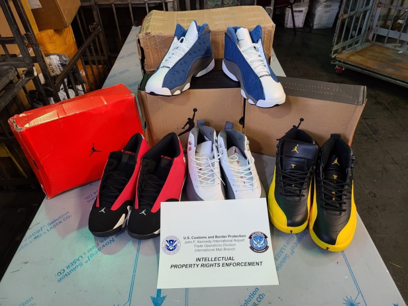 Suspected counterfeit footwear seized by CBP at the JFK International Mail Facility as part of Operation Mega Flex