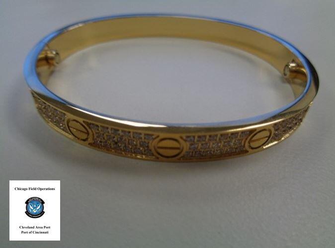 Image of counterfeit Cartier bracelet seized by CBP Cincinnati